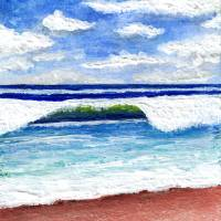 Seascape Painting Treasure Coast Florida D1 Art Prints & Posters by Ricardos Creations