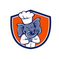 Elephant Chef Arms Crossed Crest Cartoon