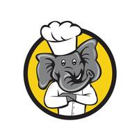 Chef Elephant Arms Crossed Circle Cartoon