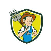 Farmer Holding Pitchfork Shoulder Crest Cartoon