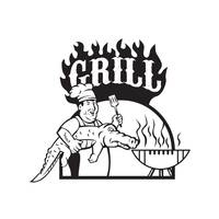 Chef Carry Alligator Grill Cartoon