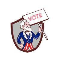 Uncle Sam American Placard Vote Crest Cartoon