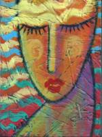 Abstract Painting of a Woman On OSB Board
