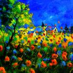 """blue and red poppies 77"" by pol"