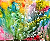 Coral abstract vibrant painting