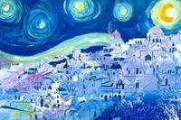 Starry Night in Santorini Oia