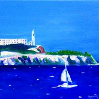 """ALCATRAZ YACHT SCENE (3) with signature"" by REDBANKQLD"