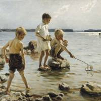 """Albert Edelfelt, Boys Playing on the Shore (1884)"" by motionage"