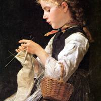 """Albert Samuel Anker - Knitting Girl"" by motionage"