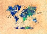 world map text art light