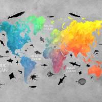 world map 2036 Art Prints & Posters by Justyna Jaszke JBJart