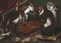 Backgammon-playing baboons, 17th century