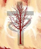 Glowing Cross, Two Hearts, Red Tree