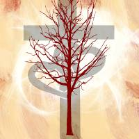 Glowing Cross, Two Hearts, Red Tree Art Prints & Posters by Jessica Wright
