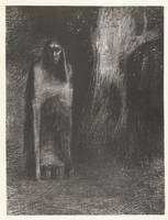 A man is lonely in a nocturnal landscape, Odilon R
