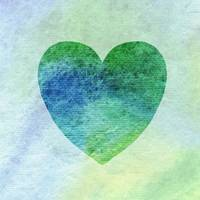 Green And Blue Heart Watercolor Silhouette