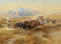 Charles M Russell , Buffalo Hunt #27, 1900