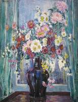 Flowers in Front of Window by Dorothea Litzinger (