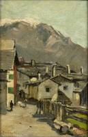 Houses along a road near a mountain (Innsbruck), G