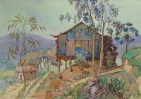 Hut in Tropical Landscape by Nelly Littlehale Murp