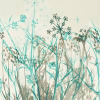 Botanical in Teal and Gray