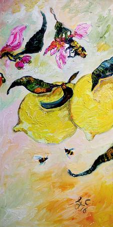 Lemons of Amalfi Coast Sorrento Oil Painting