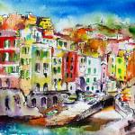 """Riomaggiore_WC_12by16-4PRINTS_pe"" by GinetteCallaway"