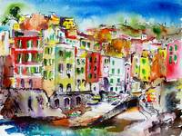 Riomaggiore Italy Cinque Terre Watercolor and Ink