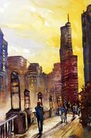 Watercolor painting of skyscrapers in Chicago, Ill
