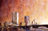 Watercolor painting of skyline of Grand Rapids, MI