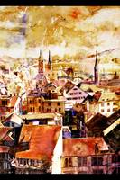 Painting of downtown Zurich, Switzerland at sunset