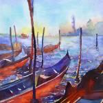 """Venice Gondolas16x24"" by RFoxWatercolors"