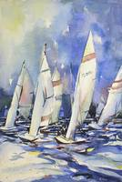 Watercolor painting of boats racing on Torch Lake