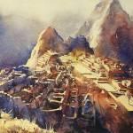 """Machu Picchu Vista20x30"" by RFoxWatercolors"