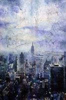 Watercolor batik on rice paper of New York skyline