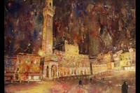 Watercolor painting of Piaza & churchSiena-Italy
