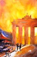 Watercolor painting of Brandenburg Gate- Berlin