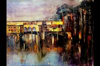 Watercolor painting of Ponte Vecchio bridge- Flore
