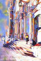 Watercolor painting of church exterior- Potosi