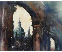 Watercolor painting of Cathedral in Cuenca, Ecuado