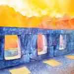 """Watercolor painting of temple at Machu Picchu-Peru"" by RFoxWatercolors"