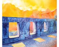 Watercolor painting of temple at Machu Picchu-Peru