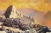 Machu Picchu at sunset watercolor painting- Peru