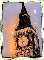 Big Ben at sunset watercolor painting- London, UK