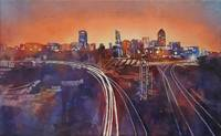 Watercolor painting of skyline of Raleigh, NC at d