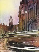 Watercolor painting of Big Ben in London, England