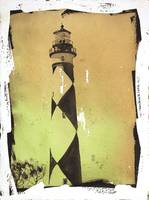 Watercolor painting of Cape Lookout lighthouse- NC