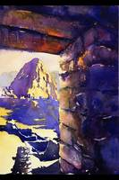 Watercolor painting of Machu Picchu in Peru