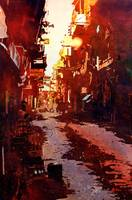 Watercolor painting of street in Kathmandu- Nepal