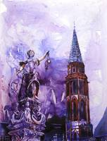 Watercolor painting of church- Frankfurt, Germany